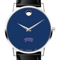 Texas Christian University Men's Movado Museum with Blue Dial & Leather Strap