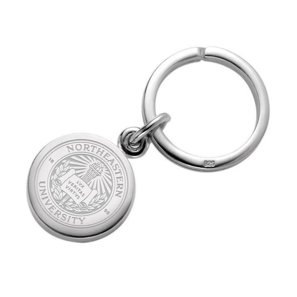 Northeastern Sterling Silver Insignia Key Ring - Image 1