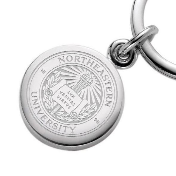 Northeastern Sterling Silver Insignia Key Ring - Image 2