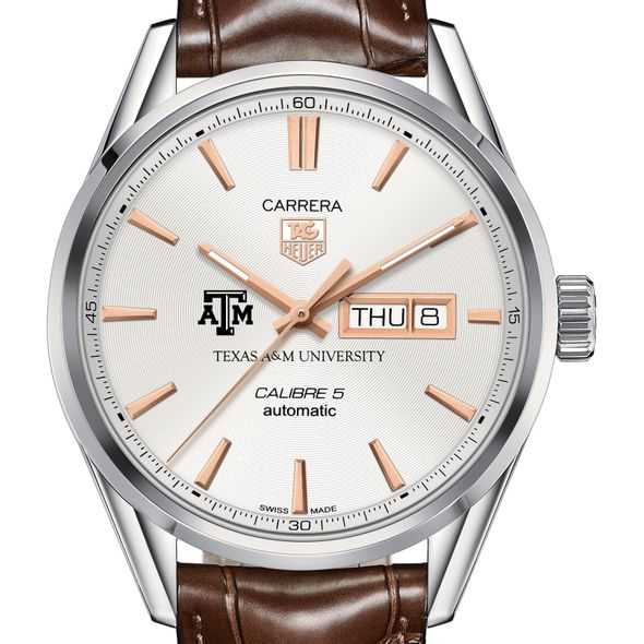 Texas A&M University Men's TAG Heuer Day/Date Carrera with Silver Dial & Strap