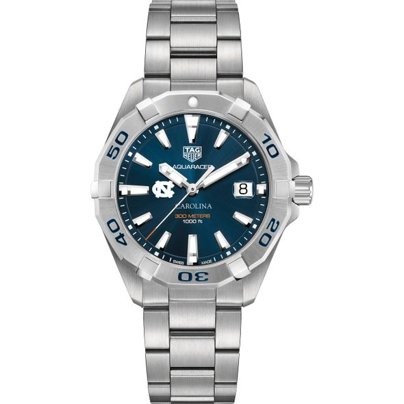 University of North Carolina Men's TAG Heuer Steel Aquaracer with Blue Dial - Image 2