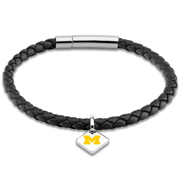 Michigan Leather Bracelet with Sterling Silver Tag - Black