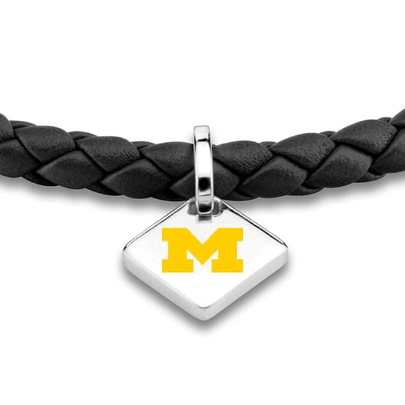 Michigan Leather Bracelet with Sterling Silver Tag - Black - Image 2