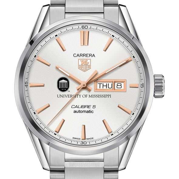 University of Mississippi Men's TAG Heuer Day/Date Carrera with Silver Dial & Bracelet