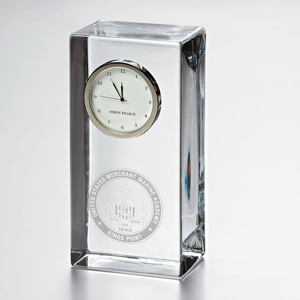 USMMA Tall Glass Desk Clock by Simon Pearce