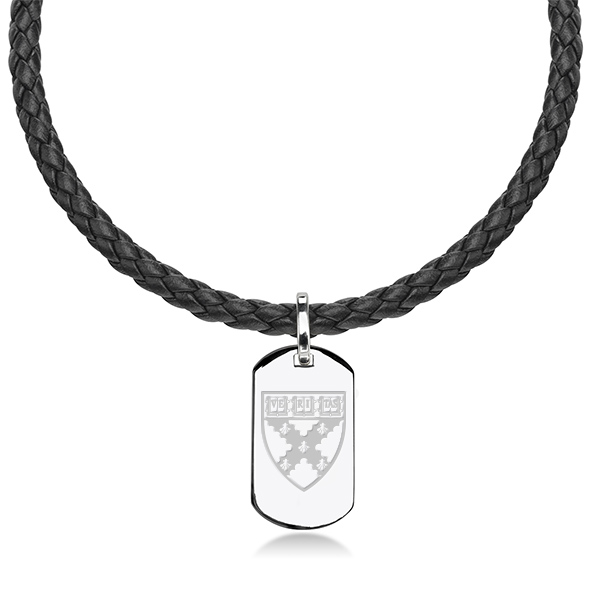 Harvard Business School Leather Necklace with Sterling Dog Tag