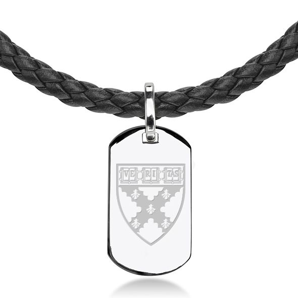 Harvard Business School Leather Necklace with Sterling Dog Tag - Image 2