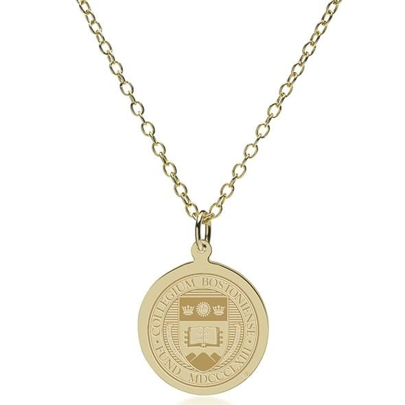 Boston College 18K Gold Pendant & Chain - Image 2