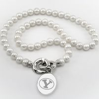Brigham Young University Pearl Necklace with Sterling Silver Charm