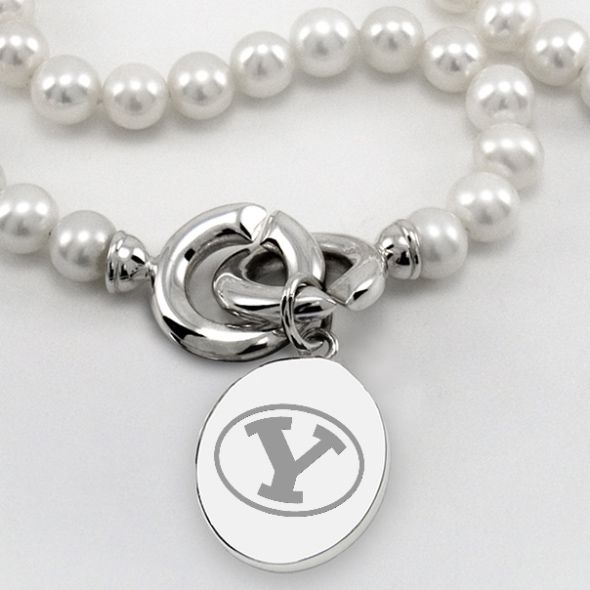 Brigham Young University Pearl Necklace with Sterling Silver Charm - Image 2