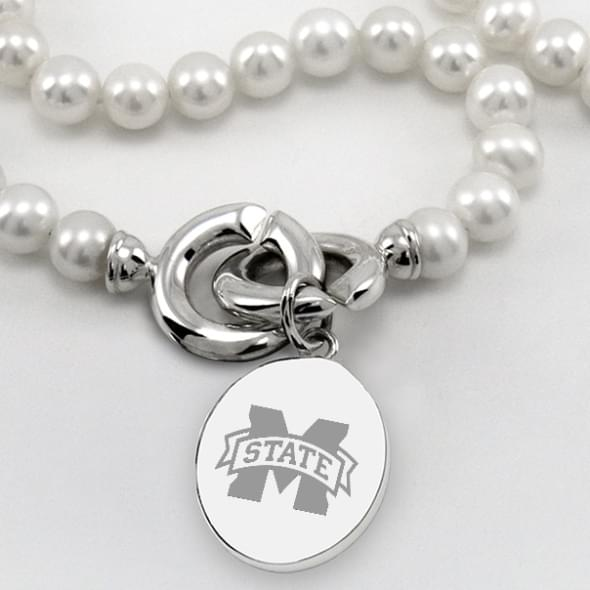 Mississippi State Pearl Necklace with Sterling Silver Charm - Image 2
