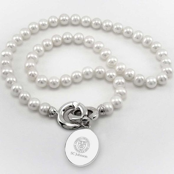 SC Johnson College Pearl Necklace with Sterling Silver Charm - Image 1