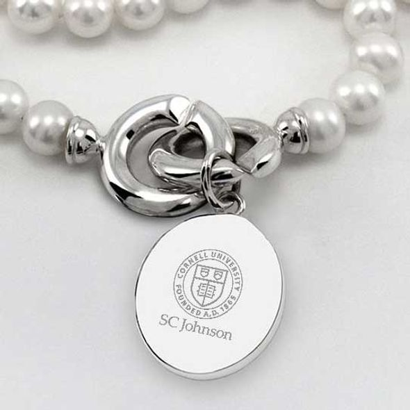 SC Johnson College Pearl Necklace with Sterling Silver Charm - Image 2