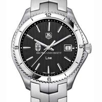 Brown TAG Heuer Men's Link Watch with Black Dial