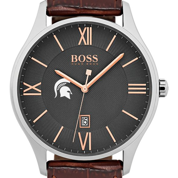 Michigan State University Men's BOSS Classic with Leather Strap from M.LaHart - Image 1
