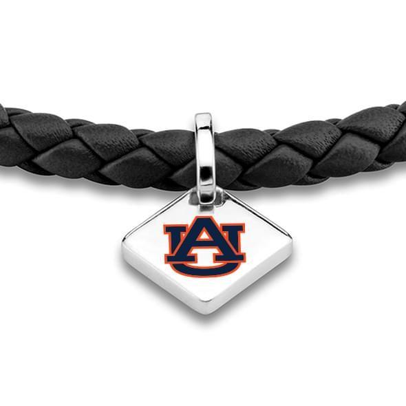 Auburn University Leather Bracelet with Sterling Silver Tag - Black - Image 2