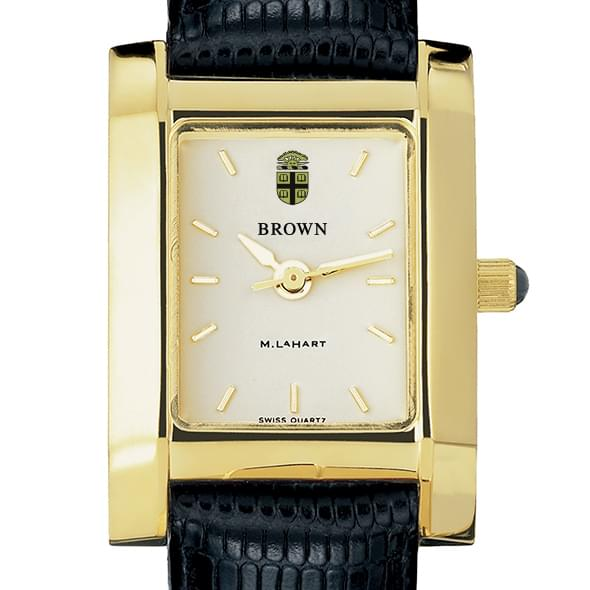 Brown Women's Gold Quad Watch with Leather Strap