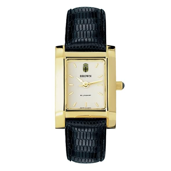 Brown Women's Gold Quad Watch with Leather Strap - Image 2