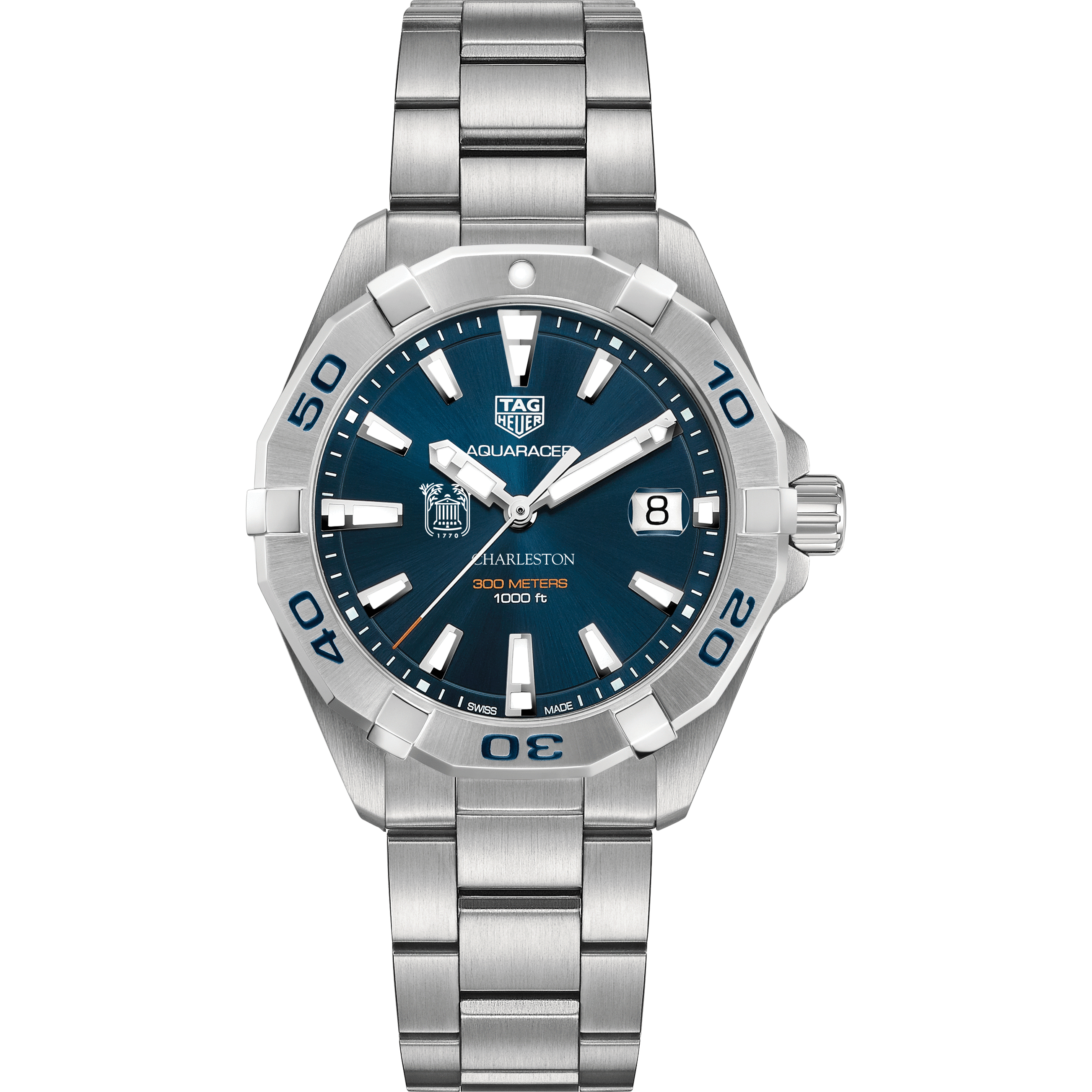 College of Charleston Men's TAG Heuer Steel Aquaracer with Blue Dial - Image 2