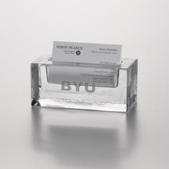 Brigham Young University Glass Business Cardholder by Simon Pearce