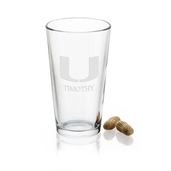 University of Miami 16 oz Pint Glass - Image 1