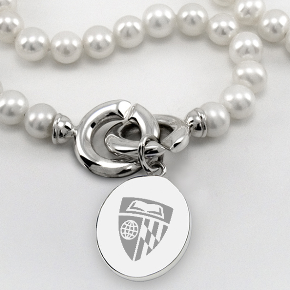 Johns Hopkins Pearl Necklace with Sterling Silver Charm - Image 2