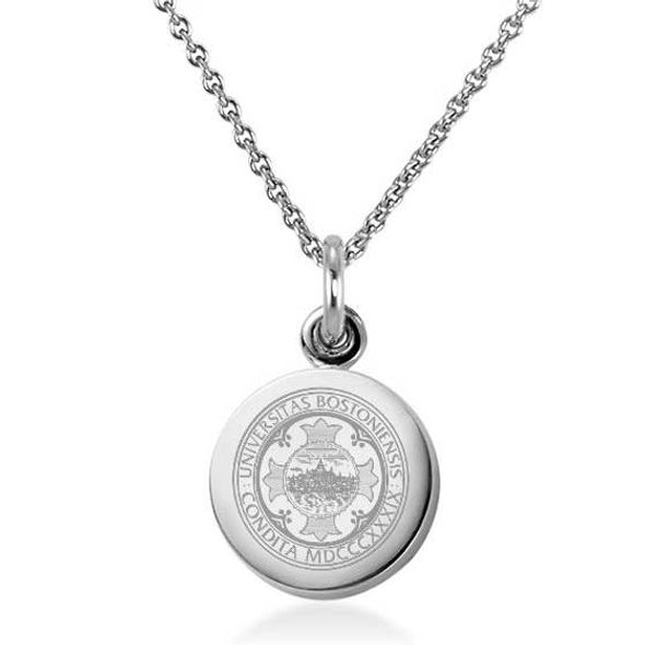 Boston University Necklace with Charm in Sterling Silver