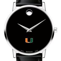 University of Miami Men's Movado Museum with Leather Strap