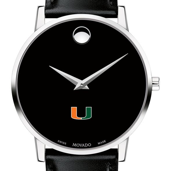 University of Miami Men's Movado Museum with Leather Strap - Image 1