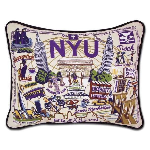 NYU Embroidered Pillow