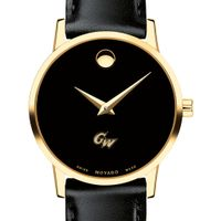 George Washington University Women's Movado Gold Museum Classic Leather