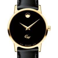 George Washington University Women's Movado Gold Museum Classic Leather
