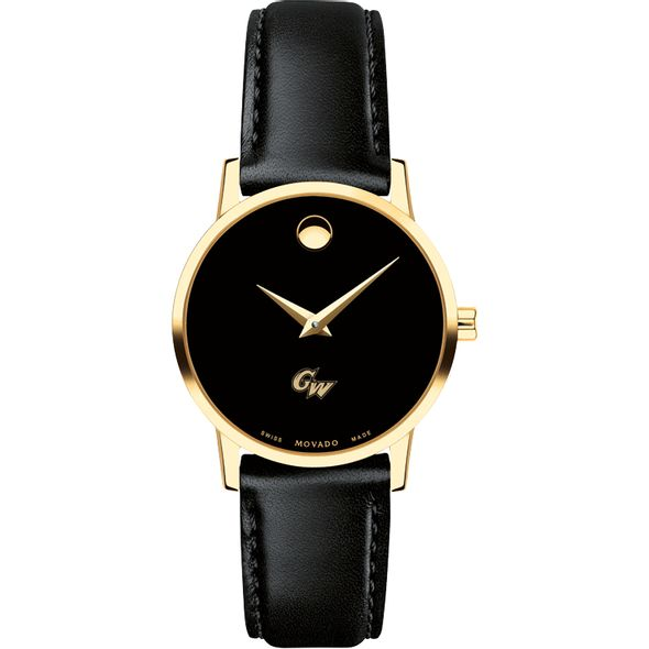 George Washington University Women's Movado Gold Museum Classic Leather - Image 2