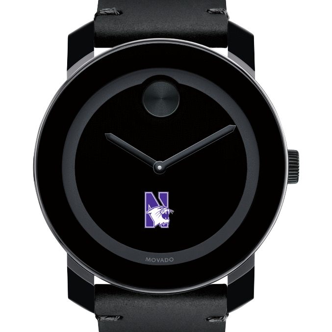 Northwestern Men's Movado BOLD with Leather Strap
