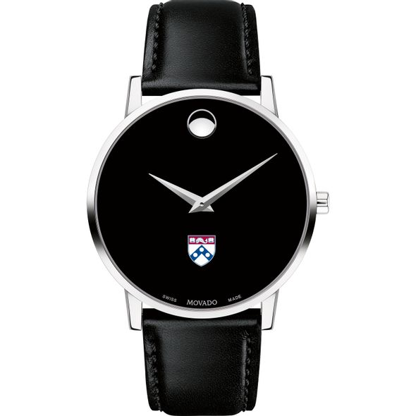 University of Pennsylvania Men's Movado Museum with Leather Strap - Image 2