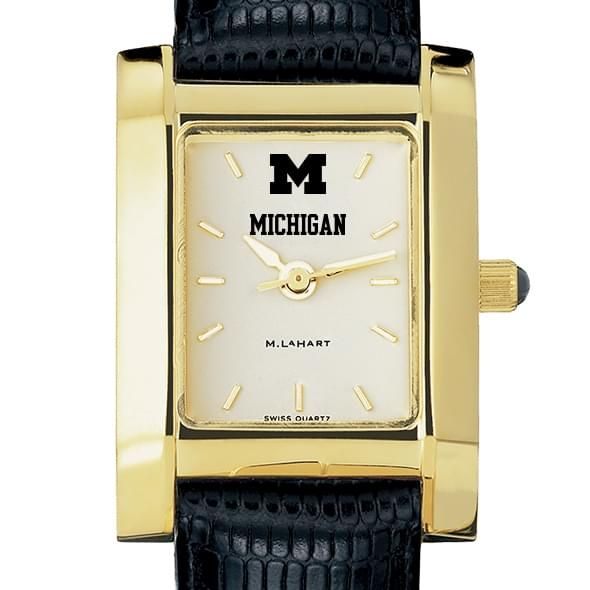 Michigan Women's Gold Quad Watch with Leather Strap - Image 1
