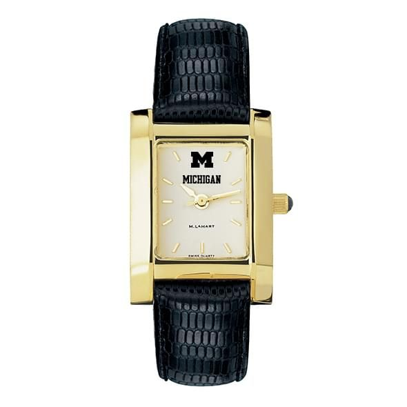 Michigan Women's Gold Quad Watch with Leather Strap - Image 2