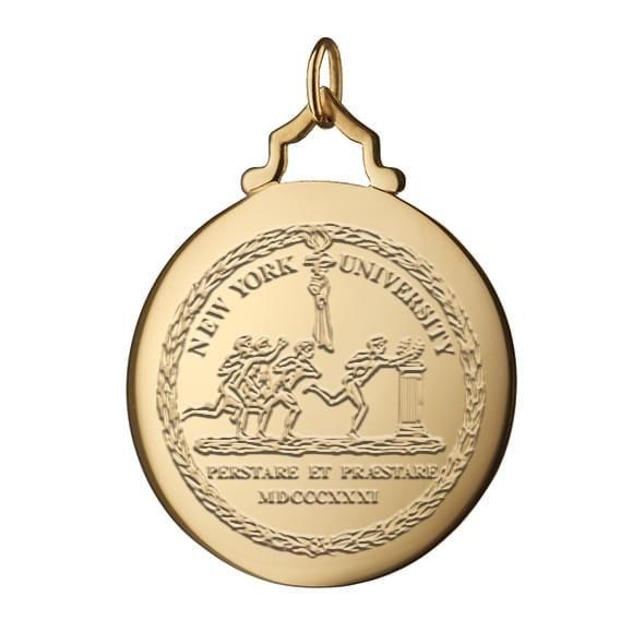 NYU Monica Rich Kosann Round Charm in Gold with Stone - Image 2