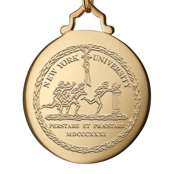 NYU Monica Rich Kosann Round Charm in Gold with Stone - Image 3
