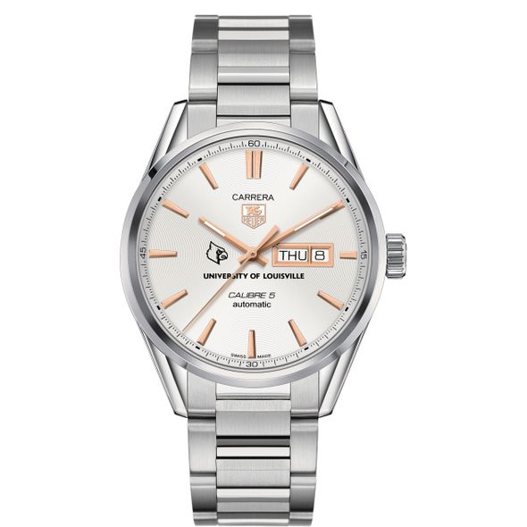University of Louisville Men's TAG Heuer Day/Date Carrera with Silver Dial & Bracelet - Image 2