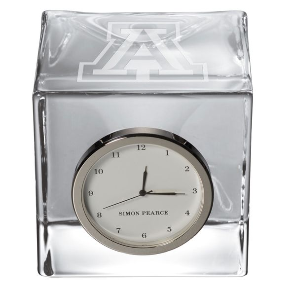 University of Arizona Glass Desk Clock by Simon Pearce - Image 2