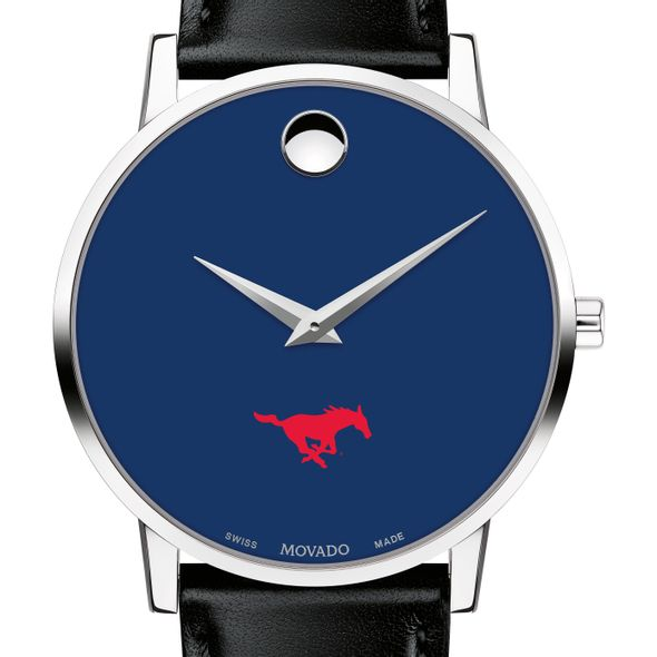 Southern Methodist University Men's Movado Museum with Blue Dial & Leather Strap