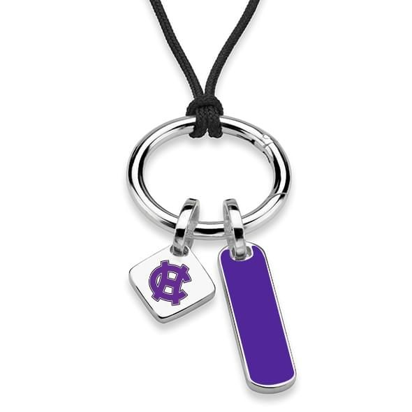Holy Cross Silk Necklace with Enamel Charm & Sterling Silver Tag