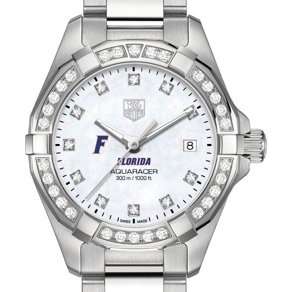 University of Florida W's TAG Heuer Steel Aquaracer with MOP Dia Dial & Bezel - Image 1