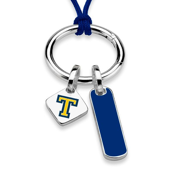 Trinity College Silk Necklace with Enamel Charm & Sterling Silver Tag - Image 2