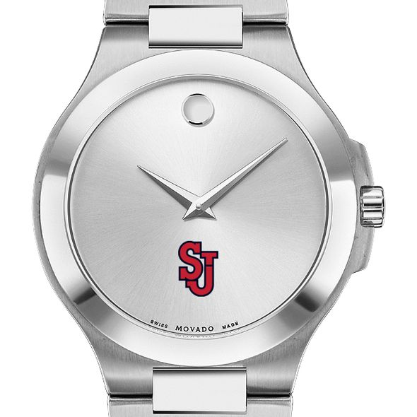 St. John's Men's Movado Collection Stainless Steel Watch with Silver Dial - Image 1