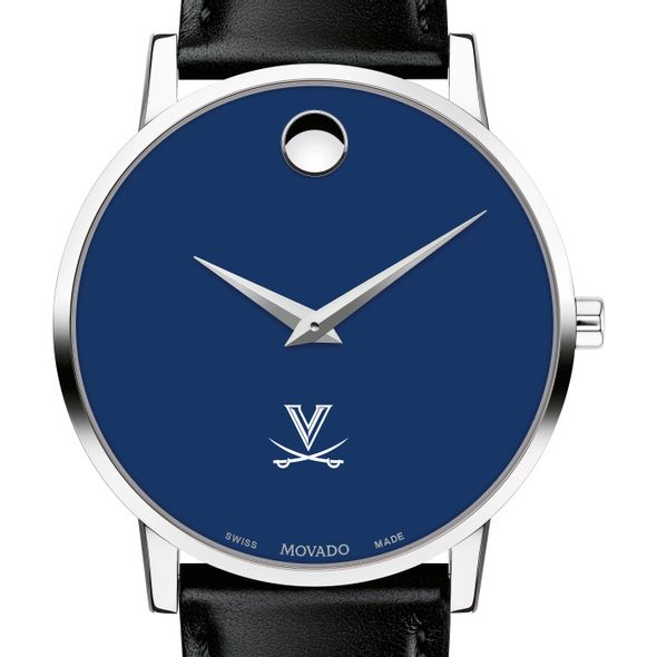 University of Virginia Men's Movado Museum with Blue Dial & Leather Strap