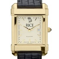 Rice University Men's Gold Quad with Leather Strap