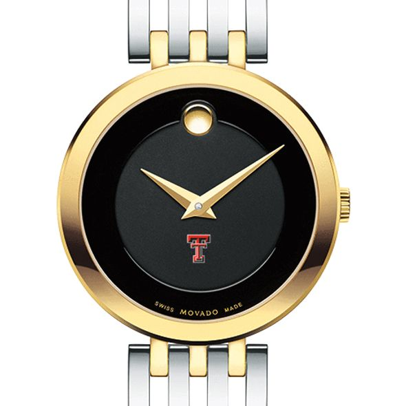 Texas Tech Women's Movado Esparanza Two-Tone Museum with Bracelet