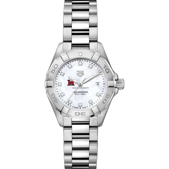 Miami University Women's TAG Heuer Steel Aquaracer with MOP Diamond Dial - Image 2